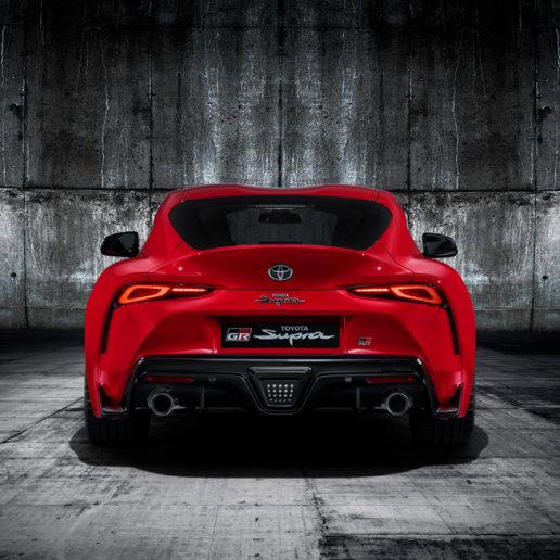 Toyota GR Supra in rot Heckansicht